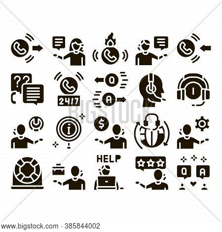 Telemarketing Sale Glyph Set Vector. Telemarketing Help And Information Research, Calling Operator A
