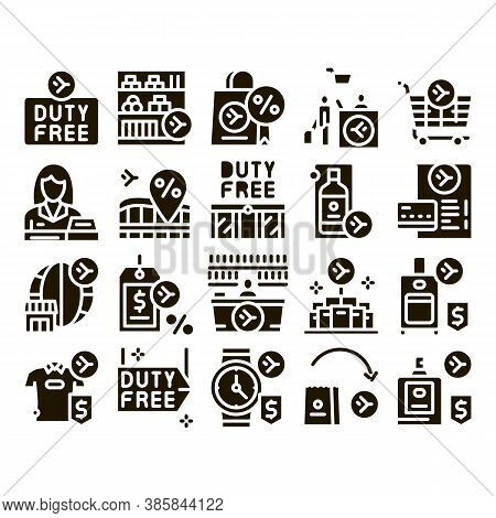 Duty Free Shop Store Glyph Set Vector. Duty Free Nameplate And Product, Bag And Label, Perfume And T