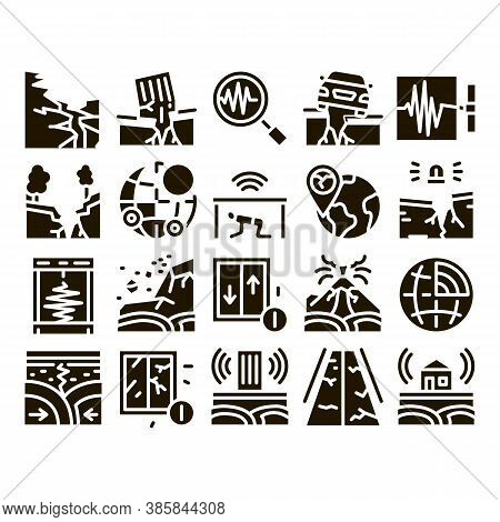 Earthquake Disaster Glyph Set Vector. Building And Road Destruction, Stone Collapse And Earthquake C