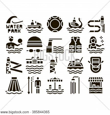 Water Park Attraction Glyph Set Vector. Swimming Wear And Equipment, Life Jacket And Lifebuoy, Boat