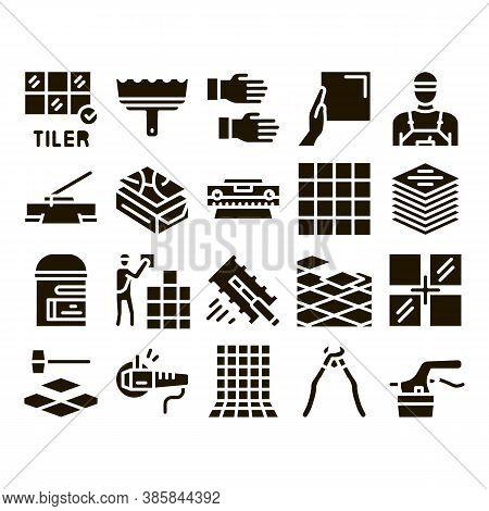 Tiler Work Equipment Glyph Set Vector. Tiler Rectangular Notched Trowel And Electrical Tile Cutter,