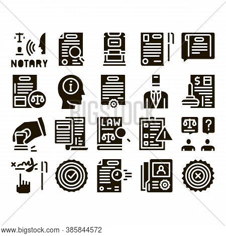 Notary Service Agency Glyph Set Vector. Agreement And Law Research, Document With Stamp And Signatur