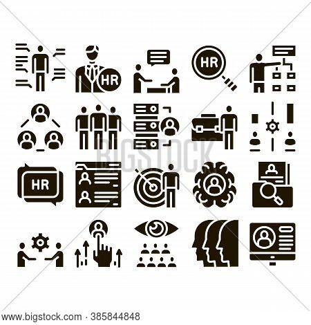 Hr Human Resources Glyph Set Vector. Hr Management And Research, Strategy And Interview, Brainstorm