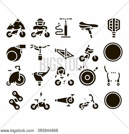 Bicycle Bike Details Glyph Set Vector. Mountain Bicycle Wheel And Seat, Brake And Frame, Chain And P