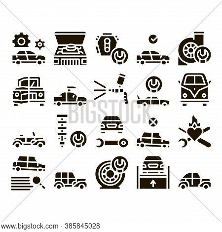 Car Restoration Repair Glyph Set Vector. Classic And Crashed Car Restoration, Painting Body And Fixi