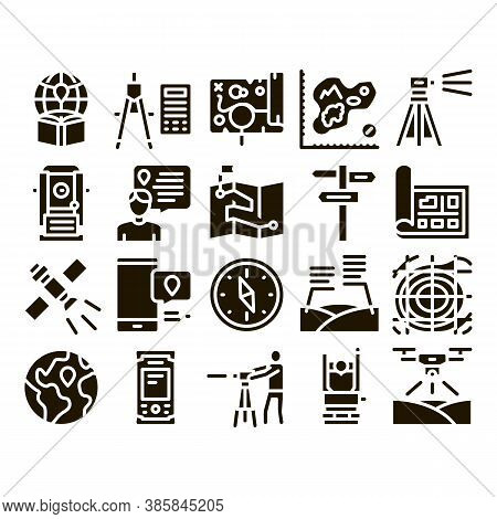 Topography Research Glyph Set Vector. Topography Equipment And Device, Compass And Calculator, Satel