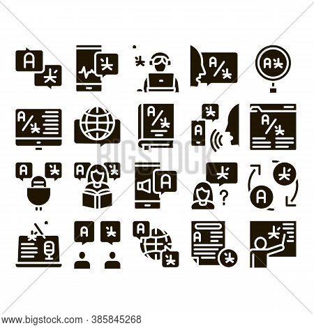 Interpreter Translator Glyph Set Vector. Interpreter In Smartphone And Web Site, Laptop And Micropho