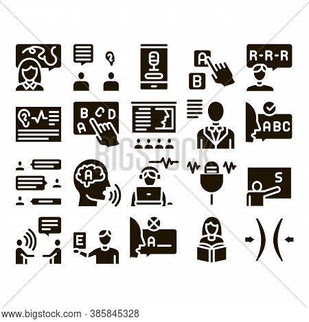 Speech Therapist Help Glyph Set Vector. Speech Therapist Therapy, Alphabet And Blackboard, Phone And