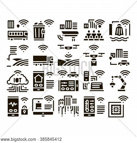 Internet Of Things Iot Glyph Set Vector Thin Line. Wifi Signal In Bus And Truck, Cctv Camera And Dro