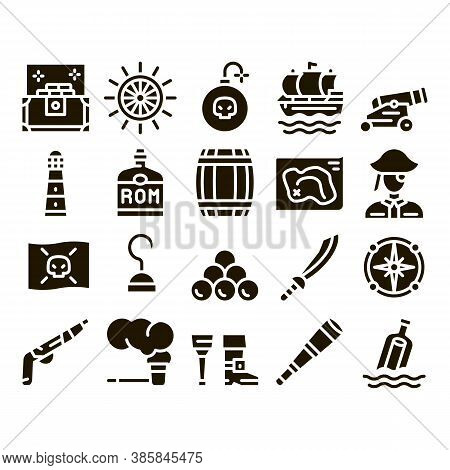 Pirate Sea Bandit Tool Glyph Set Vector Thin Line. Pirate Saber And Spyglass, Steering Rudder, Cross