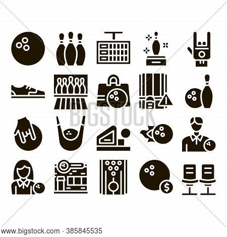 Bowling Game Tools Glyph Set Vector. Bowling Ball And Skittle, Building And Stool, Scoreboard And Sh