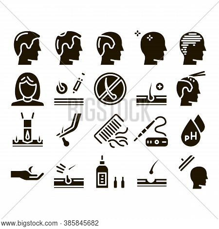 Hair Transplantation Glyph Set Vector Thin Line. Balding And Baldness Man Head, Shampoo And Medicine