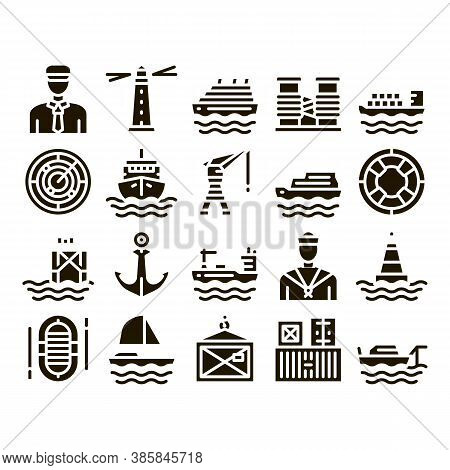 Marine Port Transport Glyph Set Vector Thin Line. Port Dock And Harbor, Lighthouse And Anchor, Capta