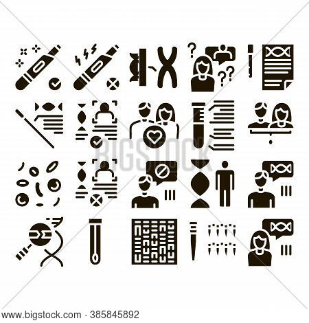 Paternity Test Dna Glyph Set Vector Thin Line. Man And Woman Silhouette, Chemistry Laboratory Test A