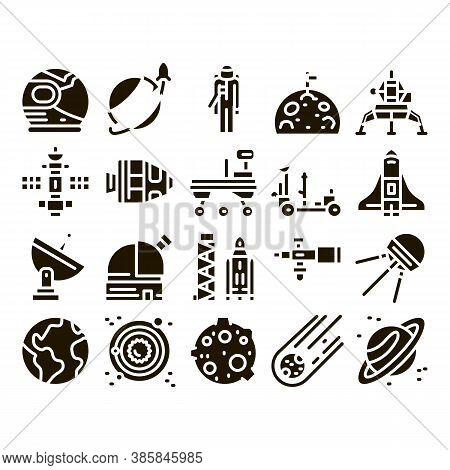 Astronaut Equipment Glyph Set Vector Thin Line. Astronaut Spacesuit And Helmet, Shuttle And Satellit