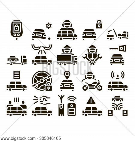 Car Theft Collection Elements Icons Set Vector Thin Line. Car Theft On Truck, Thief Silhouette Near