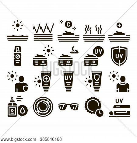 Sunscreen Collection Elements Icons Set Vector Thin Line. Sun Lotion And Medical Cream, Protection S
