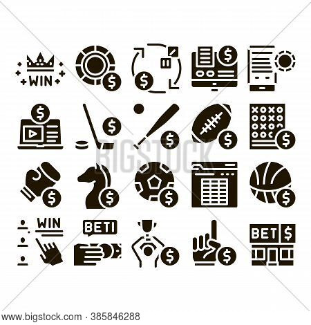Betting And Gambling Glyph Set Vector Thin Line. Basketball And Baseball, Hockey And Boxing, Horse R