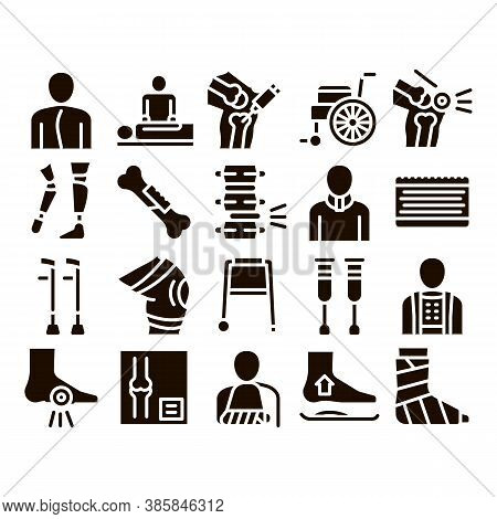 Orthopedic Collection Elements Vector Icons Set Thin Line. Orthopedic And Trauma Rehabilitation, Cer