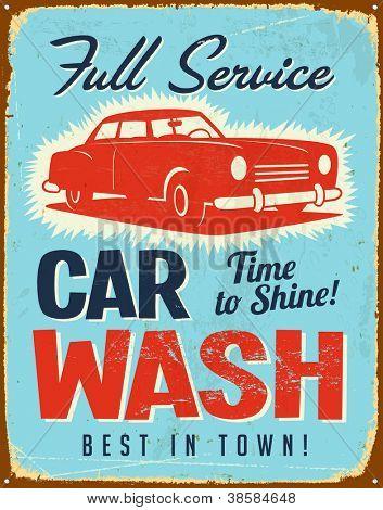 Vintage Metall sign - Auto-Waschanlagen - JPG Version