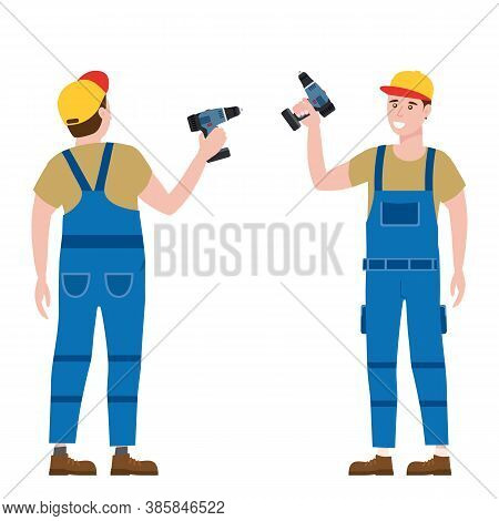 Construction Worker With Cordless Screwdriver Tool In Workwear. Back And Front View Craftsman Charac