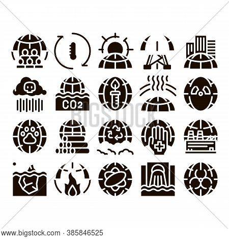 Environmental Problems Glyph Icons Set Vector. Environmental Problem, Industrial Pollution, Contamin