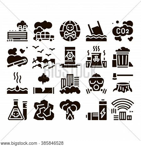 Pollution Of Nature Glyph Icons Set Vector. Environmental Pollution, Chemical, Radiological Contamin