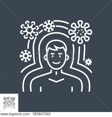 Immunity Related Vector Thin Line Icon. Man Protected From Virus Immunity. Isolated On Black Backgro