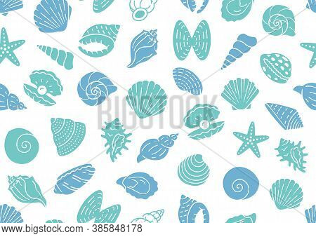 Seashell Seamless Pattern. Vector Background Included Silhouette Icons As Ocean Sea Shells, Scallop,
