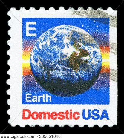 Usa - Circa 1988: A Postage Stamp Printed In Usa (domestic Mail), Shows The Earth View From Space, C