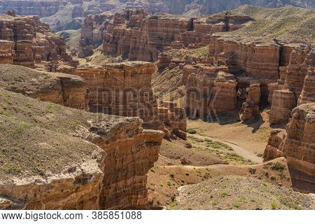 Panorama Of Charyn Canyon National Park In Kazakhstan.