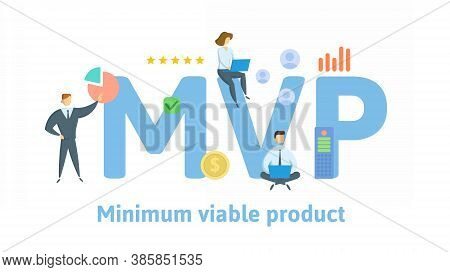 Mvp, Minimum Viable Product Or Most Valuable Player. Concept With Keywords, People And Icons. Flat V