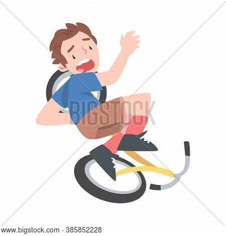 Frightened Boy Falling From Bike, Traumatic Situation, Health Risk, Pain, Injury Cartoon Style Vecto