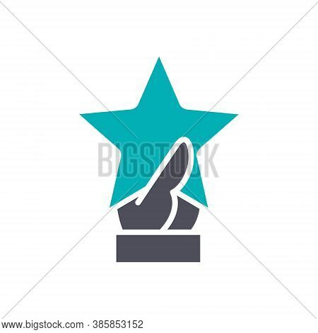 Hand Holds Star Colored Icon. Customer Review, Testimonials Symbol