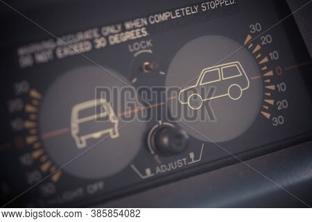 Inclinometer Or Clinometer Measure In Suv Off Road Vehicle Dashboard-