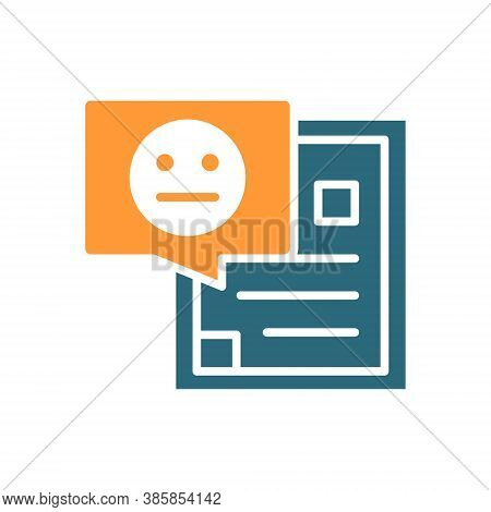 Document With Neutral Face Colored Icon. Profile With Negative Feedback, Disapprove Symbol