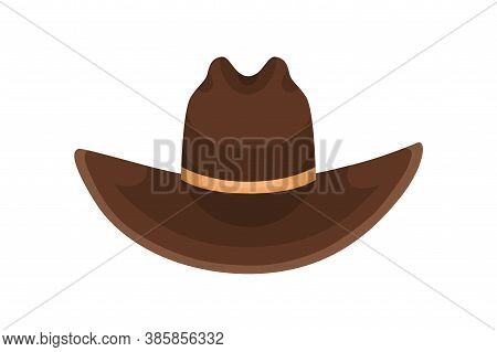 Brown Cowboy Hat Decorated With Golden Ribbon Vector Flat Illustration. Colorful Male Headdress In C