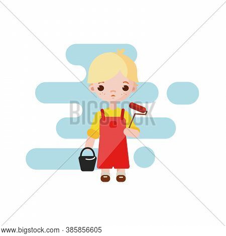 Cute Little Boy Painter. Boy Painter Isolated. Vector Illustration. Painter Boy With Paint Roller In