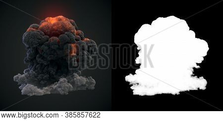 Big Puff Of Dark Smoke And Ball Of Fire With Alpha Channel Isolated On Dark Background. Burning Flam
