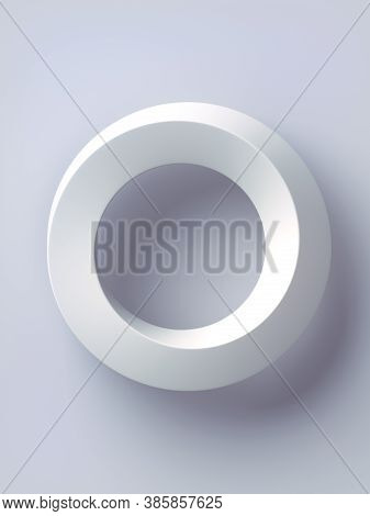 Trendy Abstract Template With Mobius Ring Geometric On White Backdrop. 3d Rendering Digital Illustra