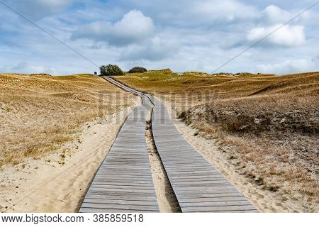 Wooden Path In Nagliai Nature Reserve In Neringa, Lithuania. Dead Dunes, Sand Hills Built By Strong