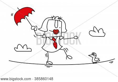 Karen The Business Woman Is Balancing On A Rope. It Is A Metaphor Of The Agility Of People.