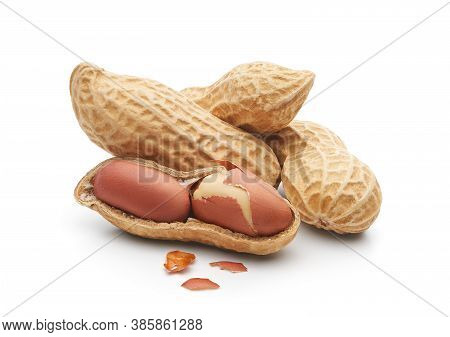 Group Of Peanuts Isolated On White Background - Clipping Path Included