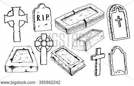 Graves Headstones Celtic Cross Hand Drawn Doodle Outline Set. Black Gloomy Sketch Gravestone For Dec