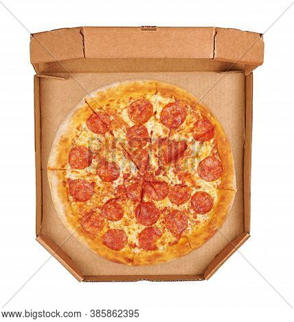 Pepperoni Pizza In A Box Top View. Isolated On White