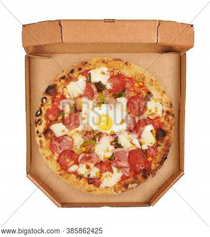 Italian Pizza In A Box Top View. Isolated On White Background