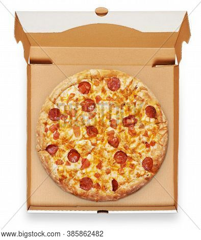 Pizza In A Cardboard Box View From Above Isolated