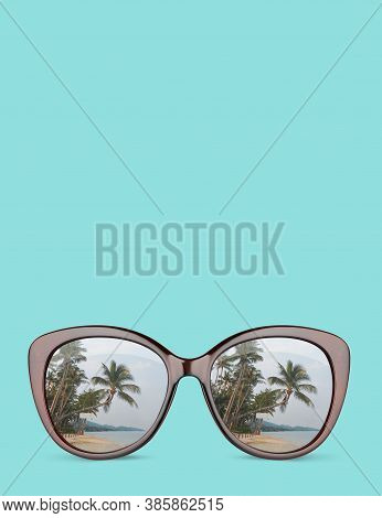 Vintage Sunglasses With Reflection Tropical Beach