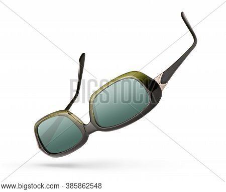 Retro Female Sunglasses Isolated On White Background