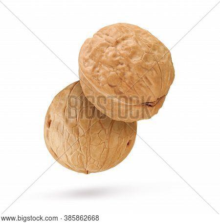 Whole Walnuts Isolated On White Background